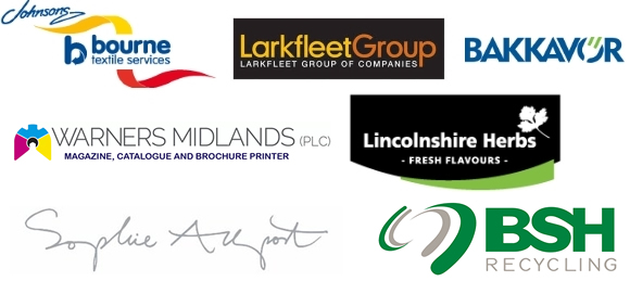 Bourne Textile Services, The Larkfleet Group, Bakkavor, Warners Midlands, Lincolnshire Herbs Logos