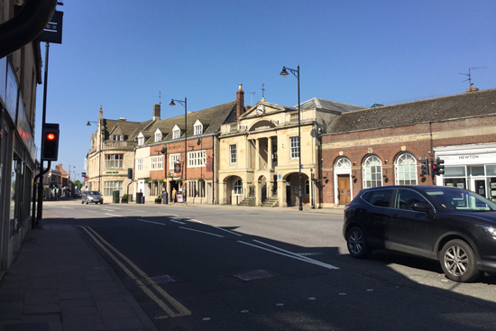 The town centre on a beautiful summers day.