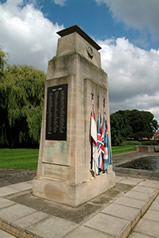 The War Memorial situated in the attractive Memorial Gardens.