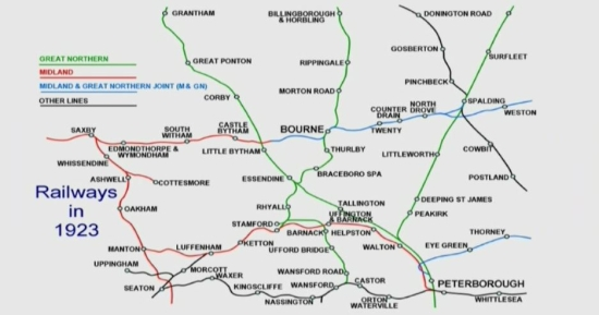 The former railway network in and around Bourne in 1923.