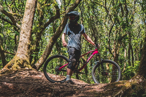 Boy on mountain bike in woods