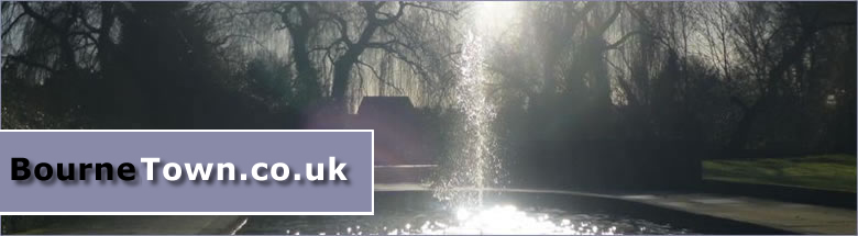 Fountain at sunset in Memorial Gardens, Bourne